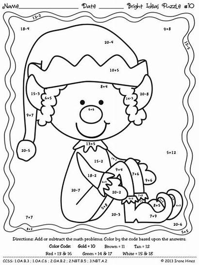 Addition Subtraction Christmas Coloring Worksheets Code Elf