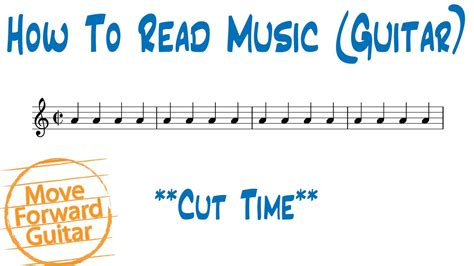 Cut time is a version of 4/4 that has been 'cut' to 2/2. How to Read Music (Guitar) - Cut Time - YouTube