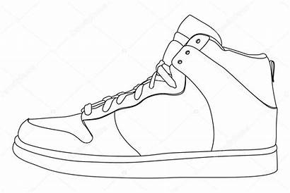 Shoes Vector Outline Shoe Drawing Illustration Jordan