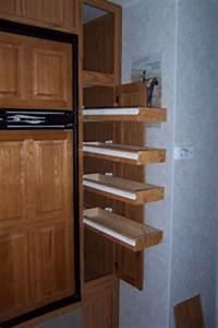 An rv pantry remodel for Sliding pantry shelves for rv