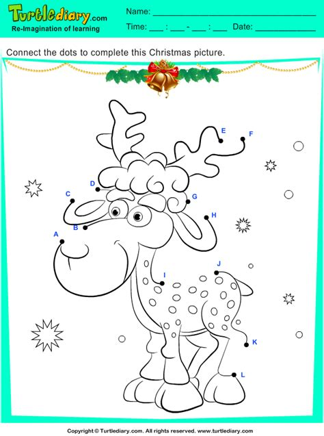 connect  dots reindeer worksheet turtle diary