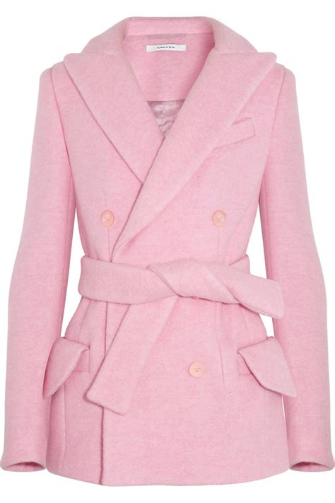 Lyst  Carven Doublebreasted Brushed Woolblend Coat In Pink