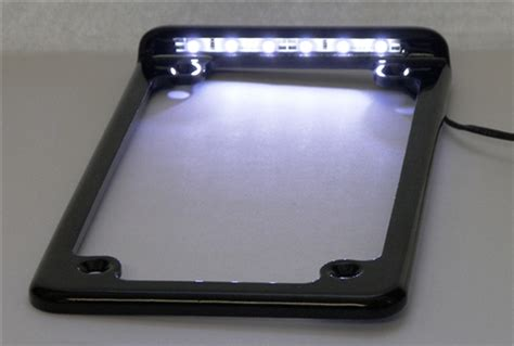 Vertical Led Lighted Motorcycle License Plate Frame With