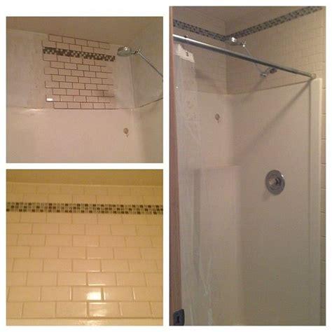 tile  fiberglass shower master bath ideas