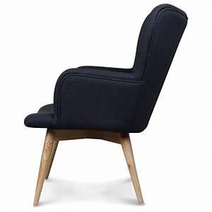 Fauteuil Design Style Scandinave Pieds Bois Tissu Gris