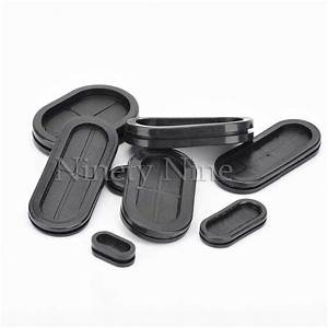10pcs Groove Black Synthetic Rubber Oval Shape Double