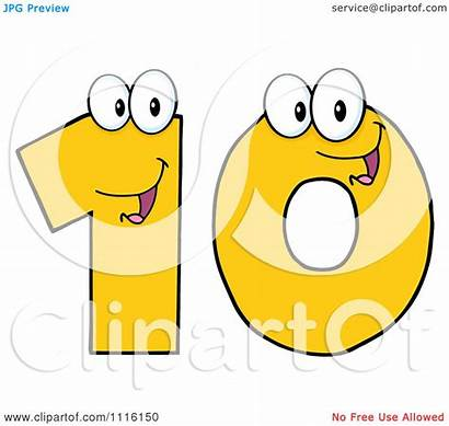 Number Ten Happy Clipart Yellow Illustration Royalty