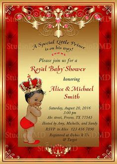 red  gold royal baby shower invitation