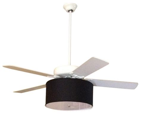linen drum shade light kit for ceiling fans black 17 quot x17