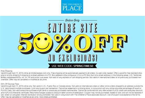 64299 Free Shipping Coupon Childrens Place by The Childrens Place Coupons 15 Everythign At The