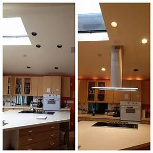 Small Low Grey Metal Kitchen Island Vent Hood Combined