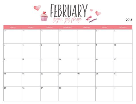 Free Calendar Template 2018 by Free February 2018 Wall Calendar Calendar 2018