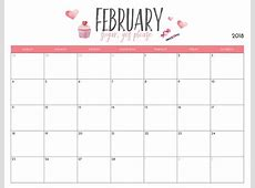 Free February 2018 Wall Calendar Calendar 2018