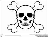 Pirate Coloring Pages Skull Bones Skulls Flags Drawings Printable Crossbones Flag Pirates Skeleton Halloween Cartoon Sheets Ginormasource Cards Quilt Clip sketch template