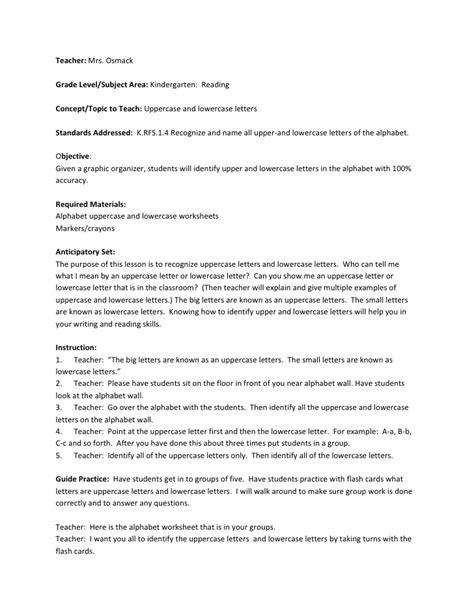 letters lesson plan