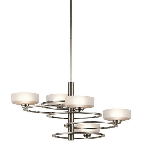 modern pewter frame ceiling light with orbiting opal glass