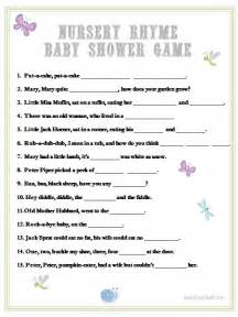 Nursery Rhyme Baby Shower Game Image