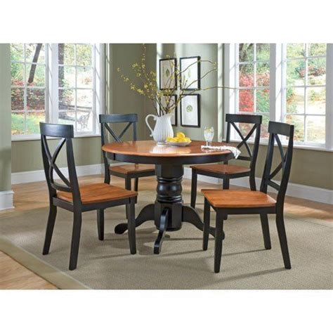5 oak dining set 42 quot table 4 chairs black