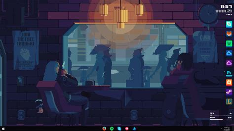 Rainmeter Animated Wallpaper - cyberpunk coffee rainmeter