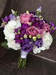 Purple and white bridal bouquet. White hydrangea, purple ...