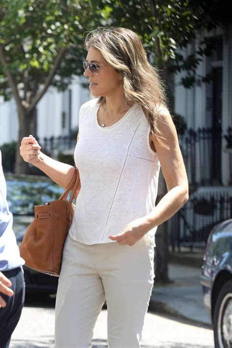 elizabeth hurley casual style leaves  house  london