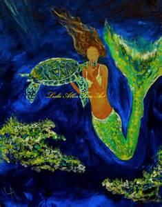 """Mermaid Mermaids Giclee Art Print Wall Art Sea Turtle Kissing Turtles Ocean Underwater Magical """"Kissing A Sea Turtle"""" Leslie Allen Fine Art"""