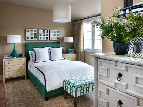 preppy guest room  emerald green bed hgtv
