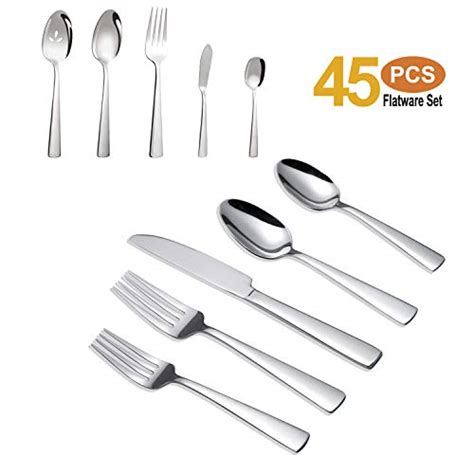 silverware stainless steel cutlery piece flatware ergonomic brightown heavy service kitchen dumuby knife tableware durable weight dishwasher safe toptenreview amazon