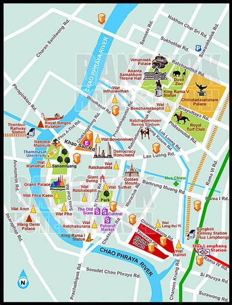 complete tourist attractions map  bangkok thailand