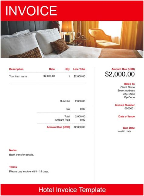 hotel invoice template   send  minutes