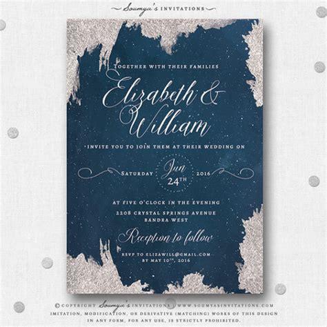 navy blue  silver star wedding invitation