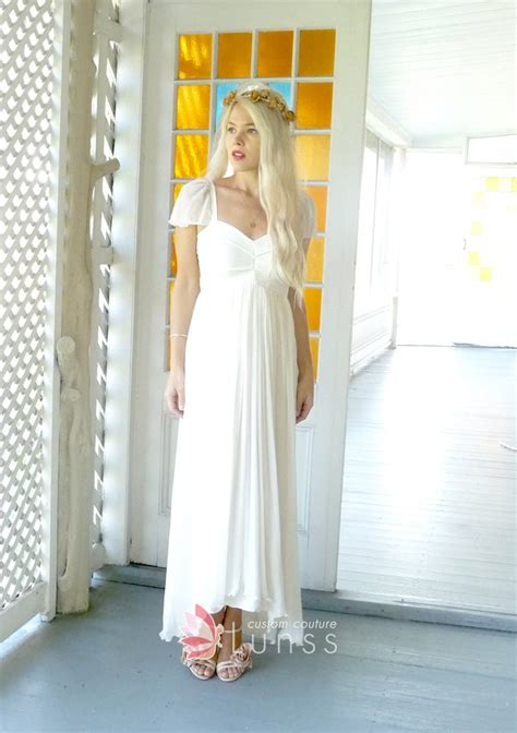 cap sleeve ivory chiffon simple high low a line empire waist bridal shower dress lunss couture