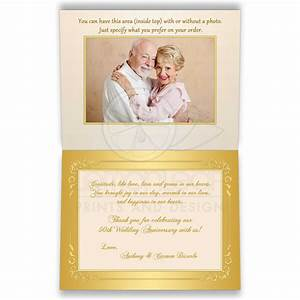 thank you card 50th wedding anniversary ivory gold With thank you message for wedding anniversary