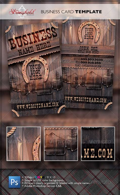 card visit template psd wood vintage western wood card template real object business