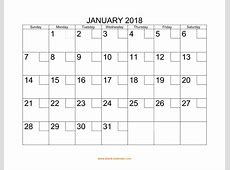 Free Download Printable January 2018 Calendar with check boxes