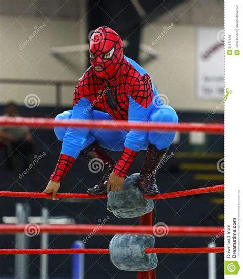 wrestling spider man costume wrestler editorial image