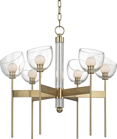 Contemporary White Chandelier by Hudson Valley 2806 Agb Davis Contemporary Aged Brass Led