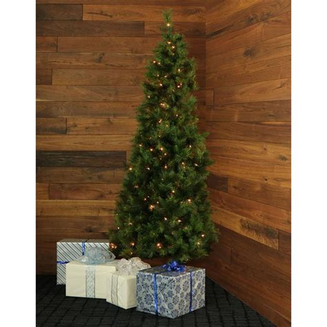 corner christmas tree fraser hill farm 7 5 ft pre lit pine half wall or corner artificial tree with