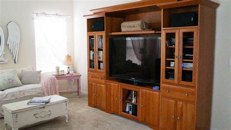 using kitchen cabinets for entertainment center media cabinet diy makeover white lace cottage 9575