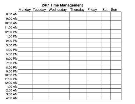10 best images of hourly time chart template free