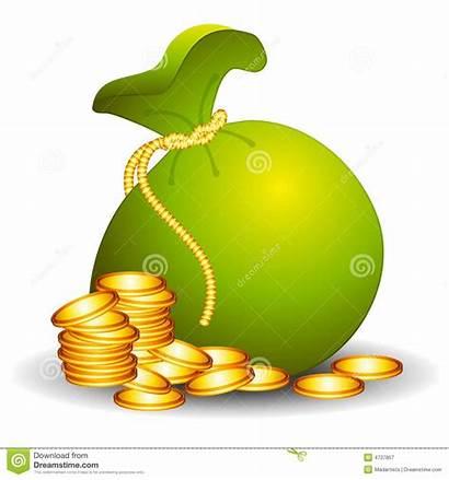 Bag Coins Money Clipart Clip Gold Royalty