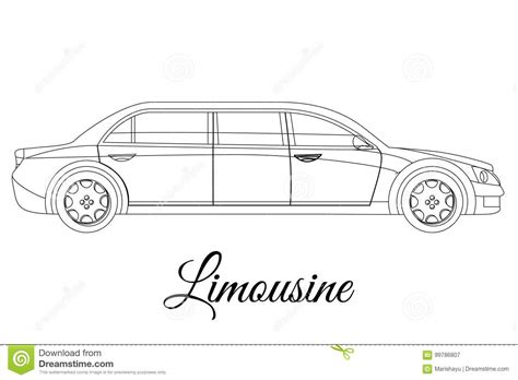 Limousine Car Body Type Outline Stock Vector