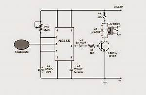 simple touch sensitive switch circuit using 555 ic With touch switch ii