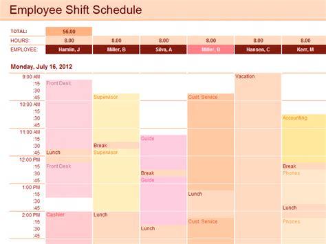 employee shift schedule template  excel