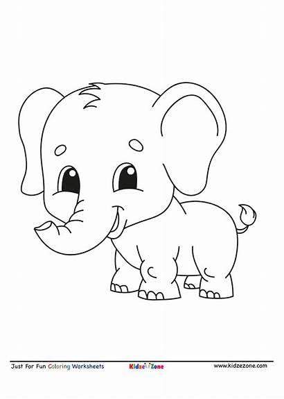Coloring Elephant Cartoon Worksheet Letter Pdf Kidzezone