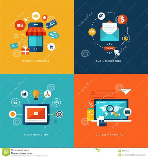 digital and design set of flat design concept icons for web and mobil royalty