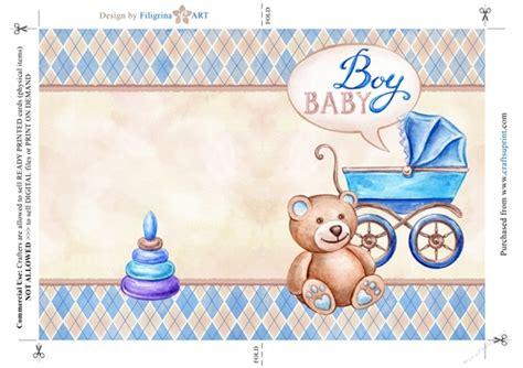 baby boy greeting card newborn baby shower folded