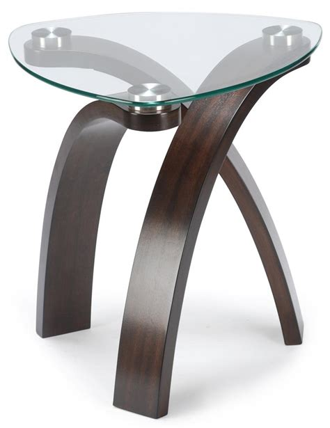 wolf table with glass table top end table with glass top and bent wood legs by magnussen