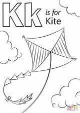 Kite Coloring Letter Pages Printable Drawing Preschool Alphabet Supercoloring Kites Activities Abc Crafts Printables Sheet Craft Kitten Words Cartoons Select sketch template