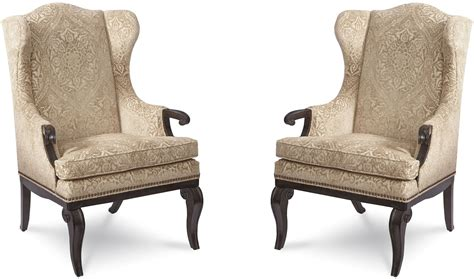 continental vintage melange wingback arm chair set of 2